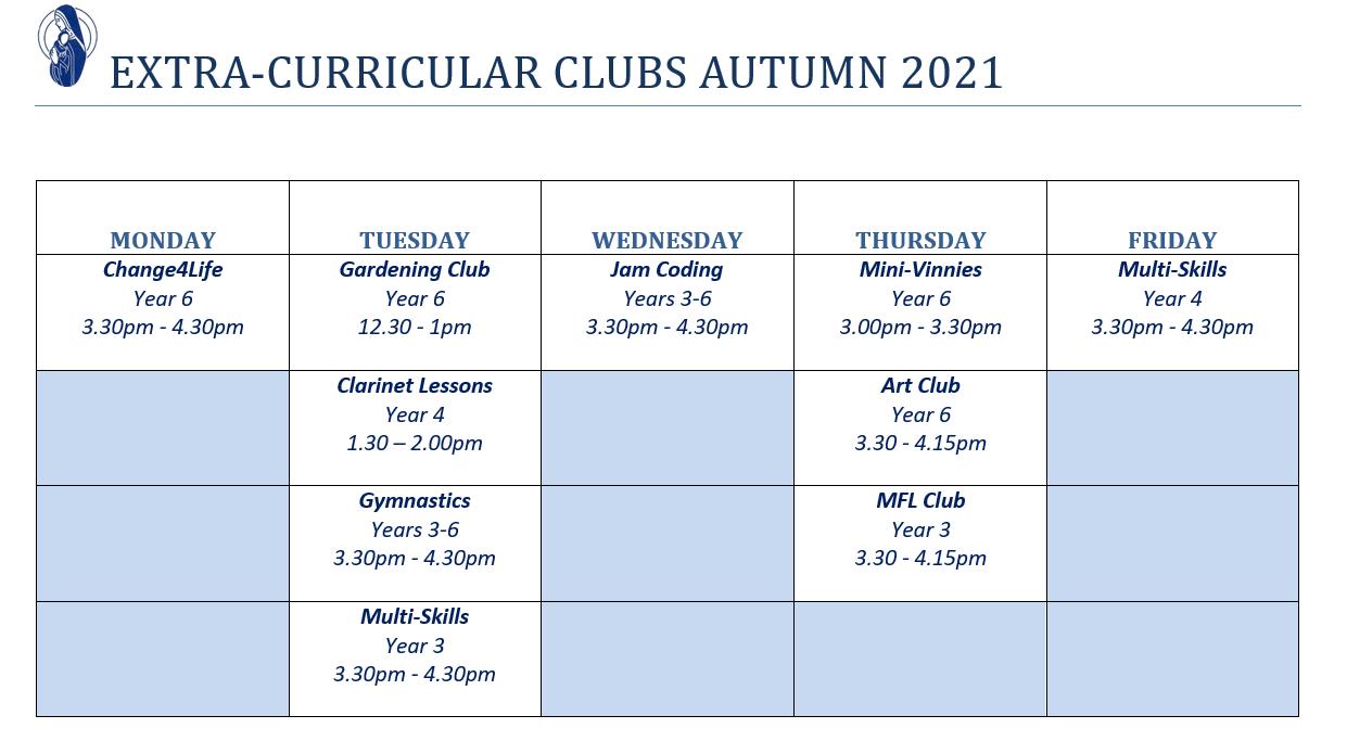 Extra-Curricular Clubs Autumn21